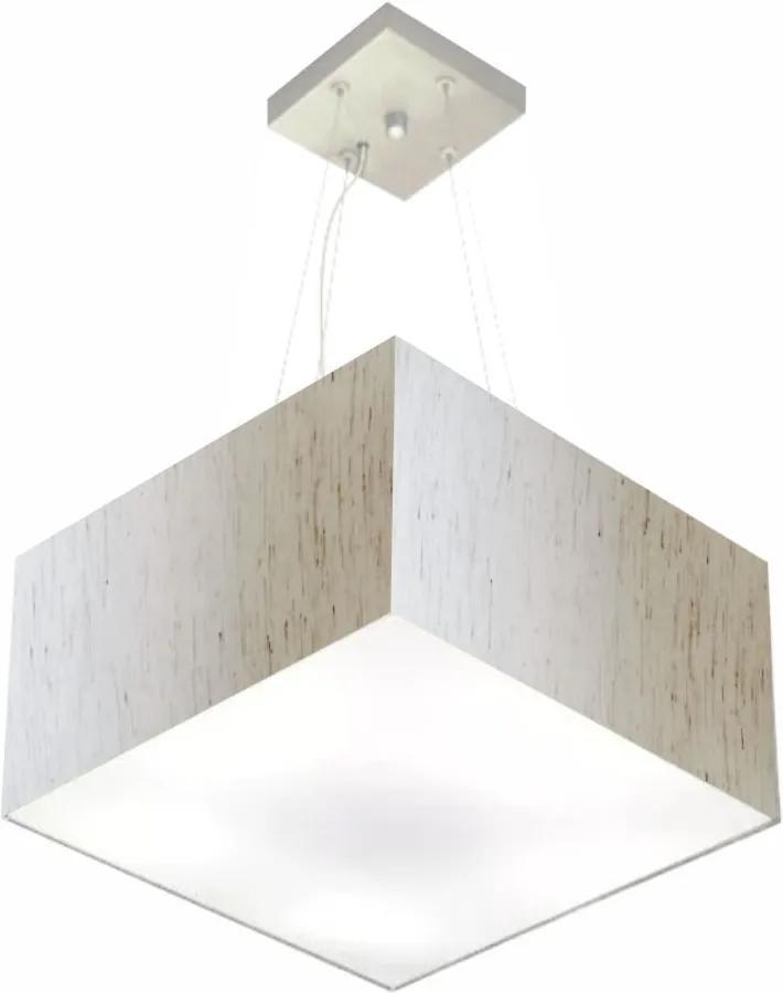 Lustre Pendente Quadrado Md-4195 Cúpula em Tecido 25/40x40cm Linho Bege - Bivolt
