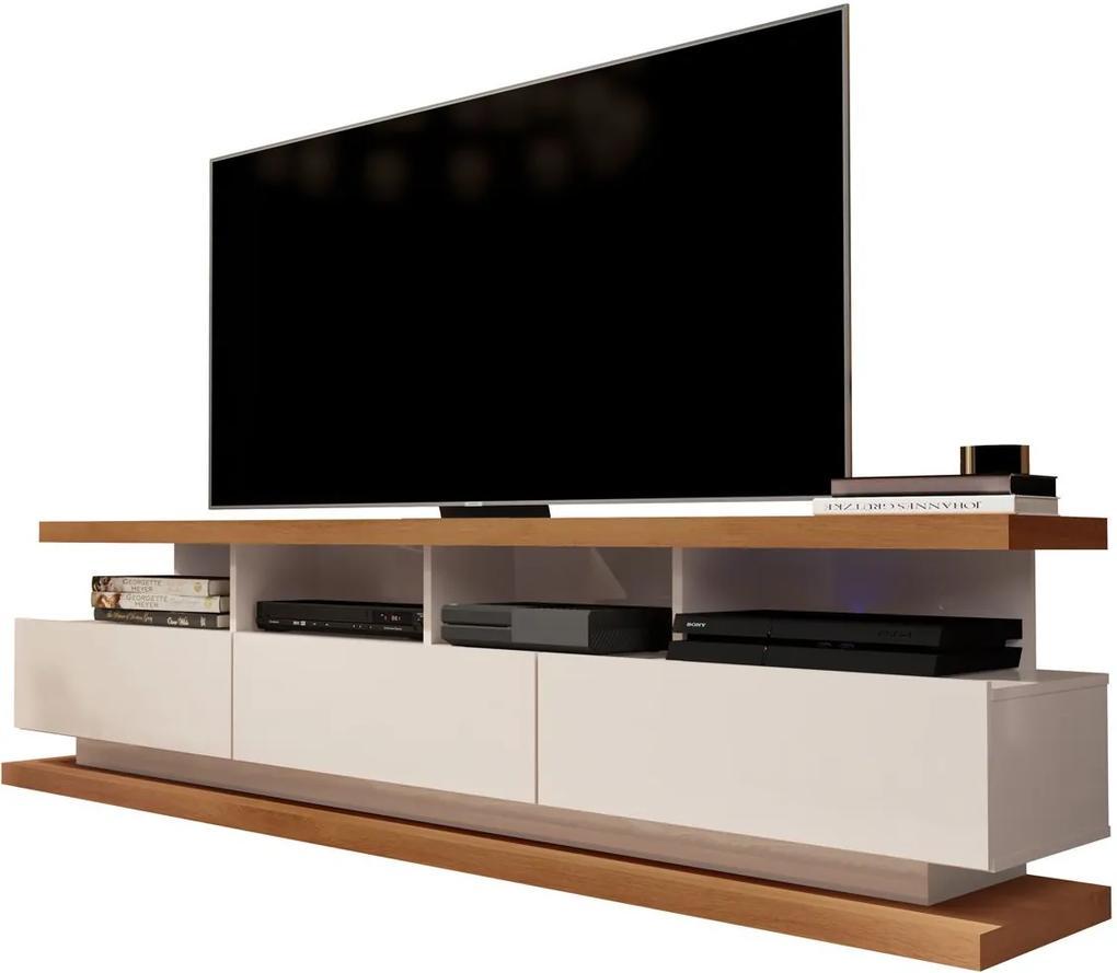 Rack para TV Vivare Off White com Freijó - Germai Móveis