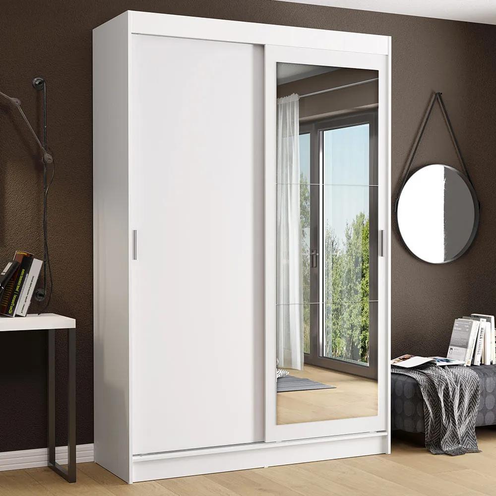 Guarda-Roupa Solteiro Madesa Tokio 2 Portas de Correr com Espelho 2 Gavetas Branco Cor:Branco