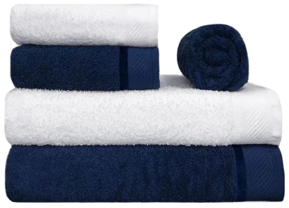 Toalha de Banho 100% Algodão Penteado jogo com 2 Banhão 2 Rosto e 1 Piso Azul e Branca