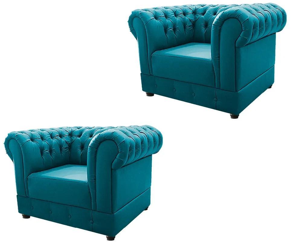 Kit 02 Poltronas Decorativas Chesterfield Ana Suede Azul Turquesa - ADJ Decor