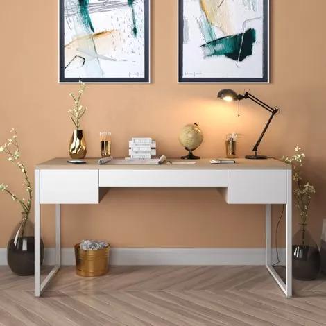 Mesa Para Escritório Diretor Estilo Industrial com 3 Gavetas   Tam: 150x60cm   Cor: Lâmina Dourada com Branco   Mod: Davi
