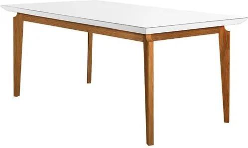 Mesa de Jantar 6 Lugares de Madeira Imbuia/Branco com Tampo de Vidro Branco 1,65m Zotz