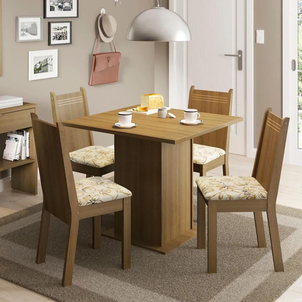 Conjunto Sala de Jantar Kate Madesa Tampo de Madeira com 4 cadeiras Rustic/Lírio Bege Cor:Rustic/Lírio Bege