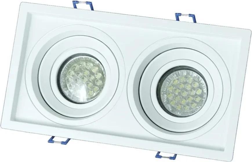 Plafon Embutir Duplo Aluminio Branco Dicroica Gu10 Recuado