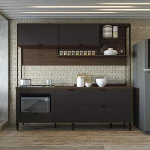 Cozinha Compacta com Balcão Pop Kappesberg - Jacarandá/Preto