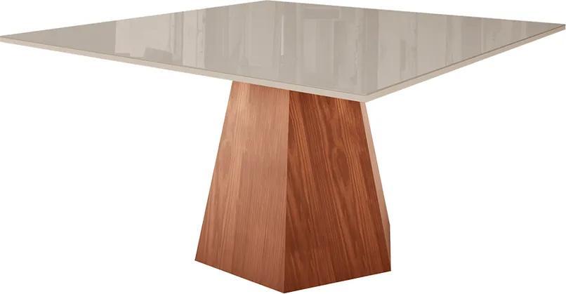 Mesa de Jantar Copacabana Quadrada 140 cm Tampo de Vidro - Wood Prime LL 33043