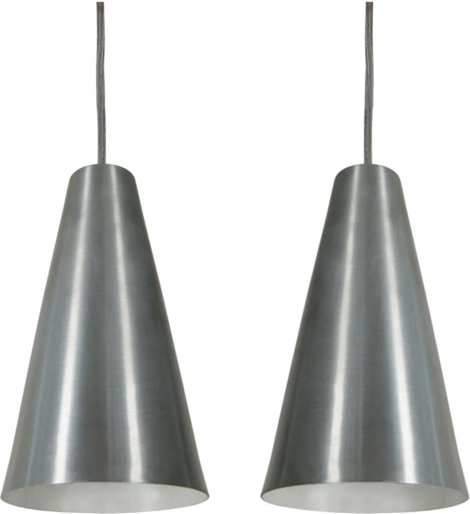 Pendente Cone Starlight Aço Escovado Kit com 2 CASAH