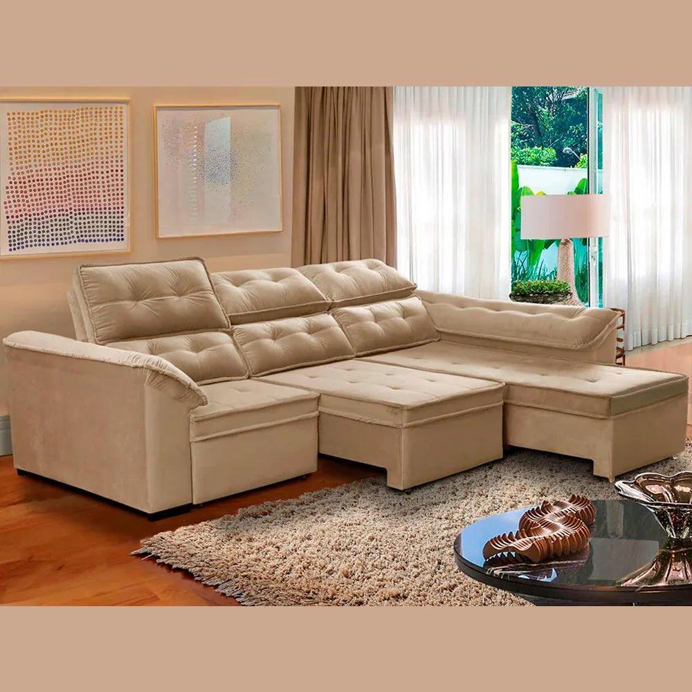 Sofá 6 Lugares Super Chaise Retrátil 290x235 Cm Assento Reclinável Canto Dallas Bege MegaSul
