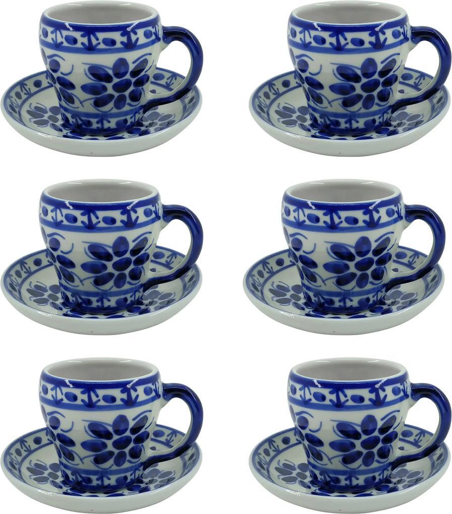 Jogo de Xícaras de Chá em Porcelana Azul Colonial 12 peças