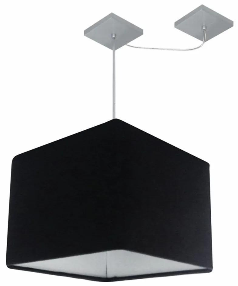 Lustre Pendente Quad C/ Desvio Md-4268 Cúpula em Tecido 30/35x35cm Preto - Bivolt