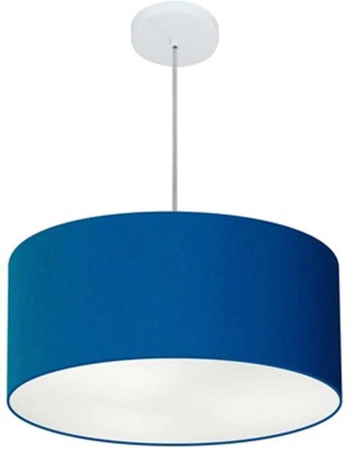 Lustre Pendente Cilíndrico Md-4100 Cúpula em Tecido 50x25cm Azul Marinho - Bivolt