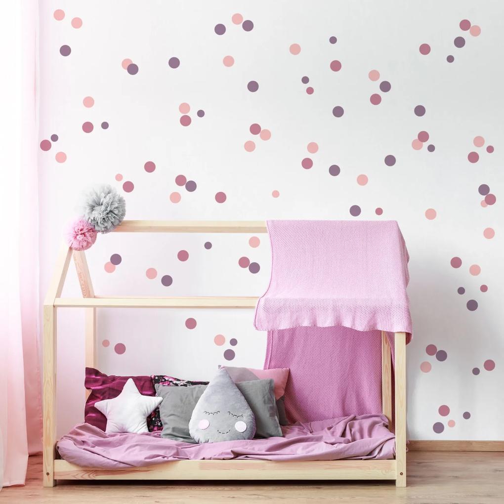 Adesivo Quartinhos Infantil Bolinhas Tons de Roxo e Rosa 96un