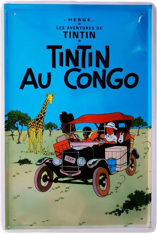 Placa De Metal Da Serie Tintin - Au Congo
