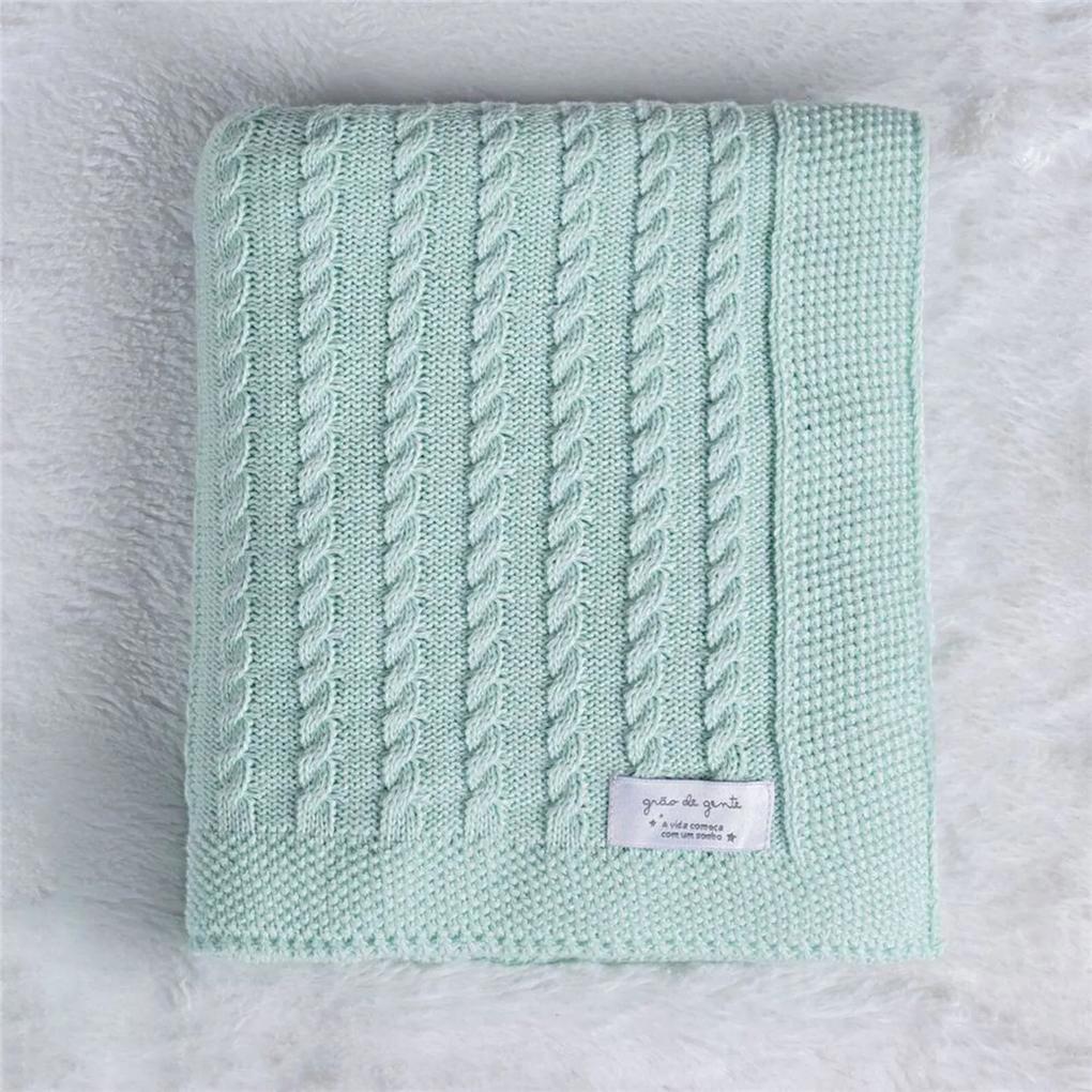Manta Bebê Tricot Trança Verde Água 80cm GrÁo de Gente Verde