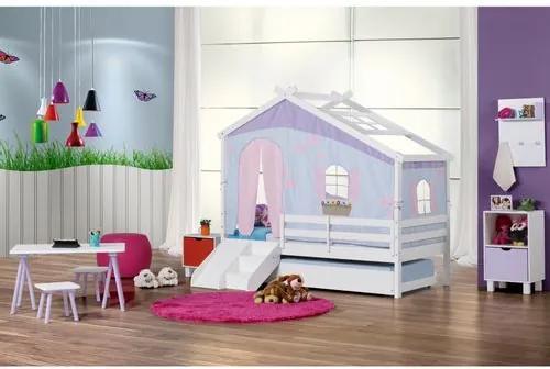 Bicama Infantil Prime com Telhado V, Tenda Tijolinho Azul e Kit Escada/escorrega - CasaTema