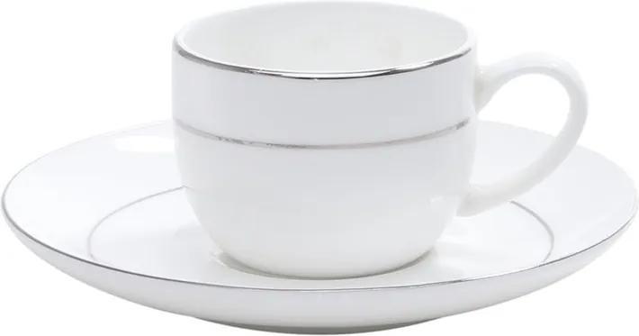 Jogo Xícaras Para Café Porcelana 6 Peças Com Pires Bone China Nice Silver 90ml 1192 Wolff