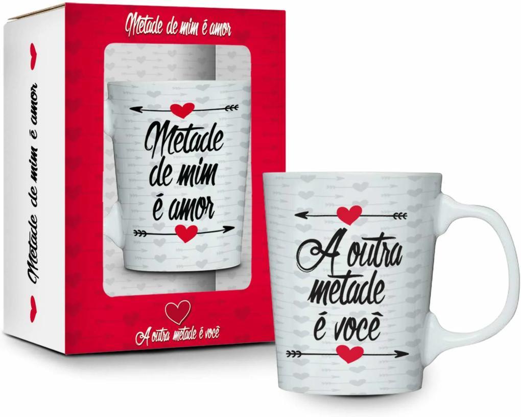 Caneca porcelana premium - amor - metade de mim É amor