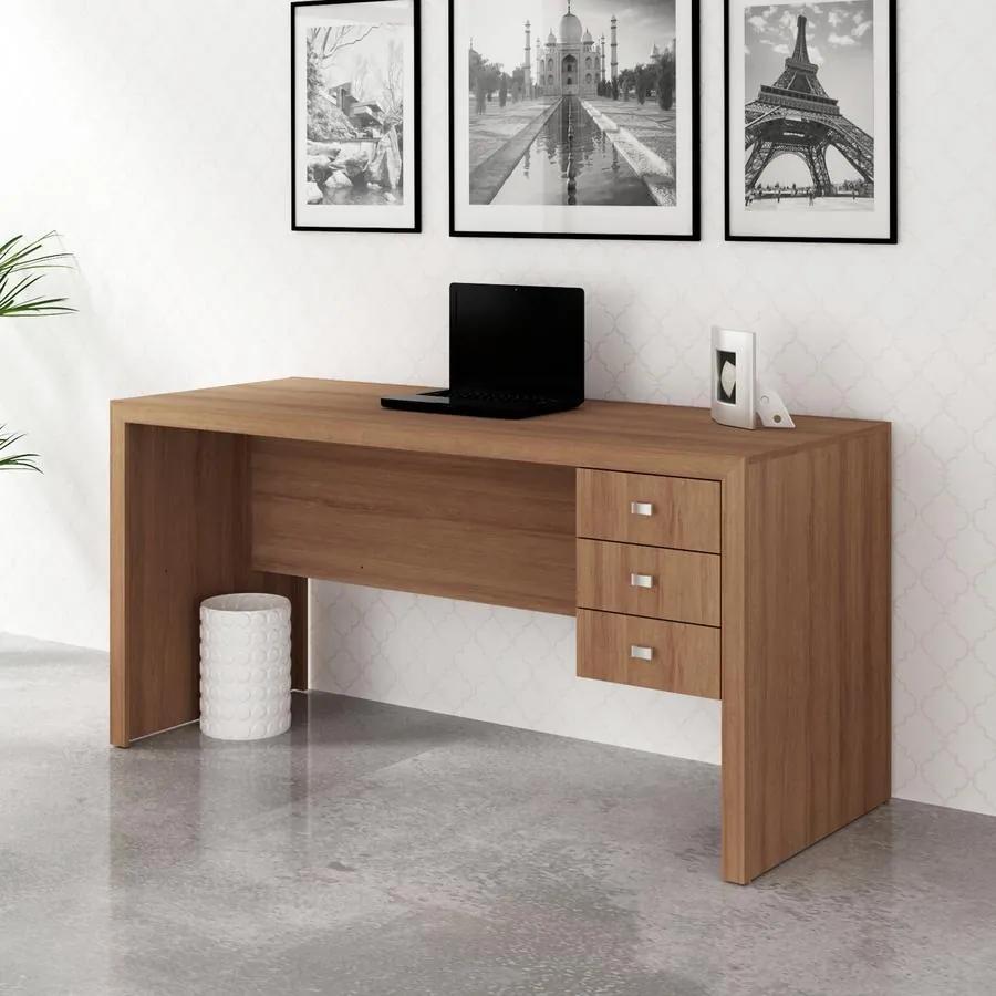 Escrivaninha Reversível Office Escritório 3 Gavetas Amêndoa