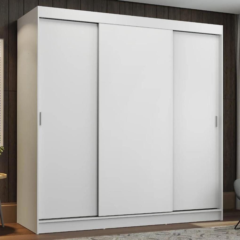 Guarda-Roupa Casal Madesa Reno 3 Portas de Correr Branco