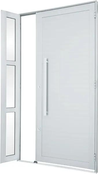 Porta de Alumínio de Abrir Alumifort Branca com Lambri Horizontal com Seteira com Puxador 1 Folha Abertura Esquerda 216x120x5,4 - Sasazaki - Sasazaki