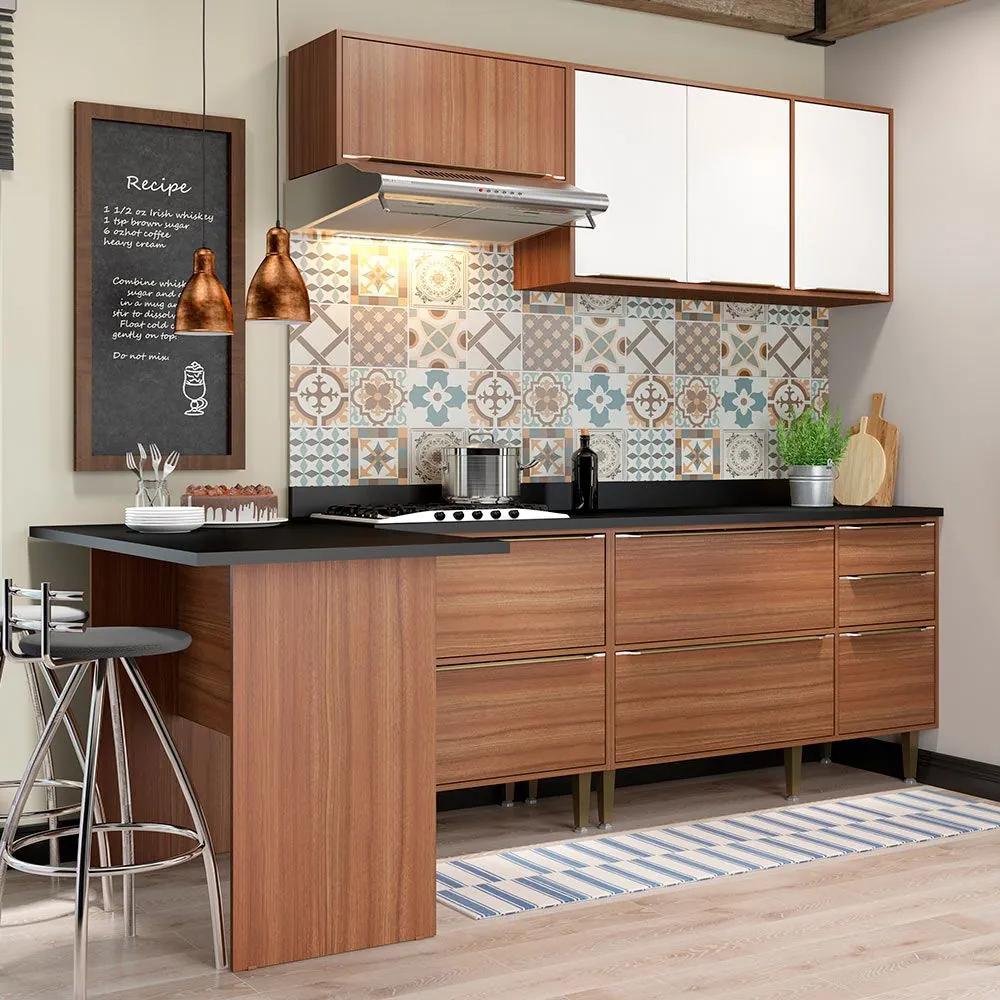 Cozinha Compacta Com Tampo 7 Portas 5455 Nogueira/Branco - Multimóveis