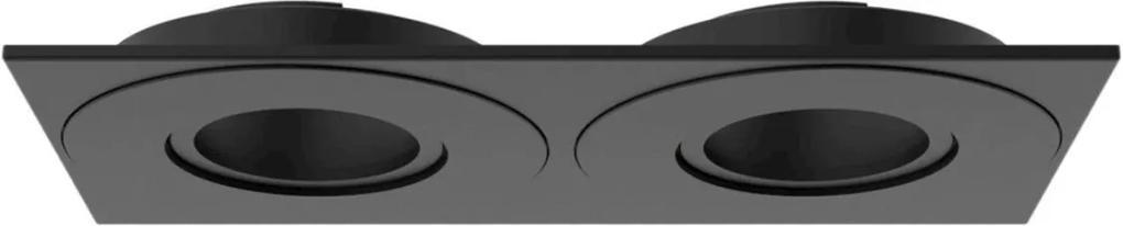Plafon Embutir Aluminio Preto Dicroica Gu10 Face Plana Dupla
