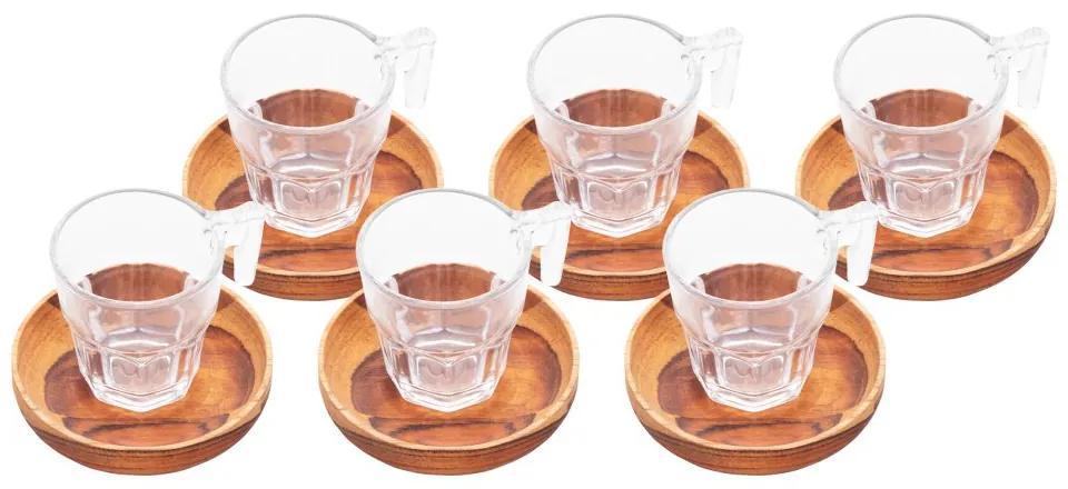 Jogo Xícaras Para Café 6 Peças Com Pires Madeira Teca 75ml 13206 Woodart