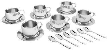Jogo Aço Inox para Chá e Cappuccino 18 peças Tramontina 64430820