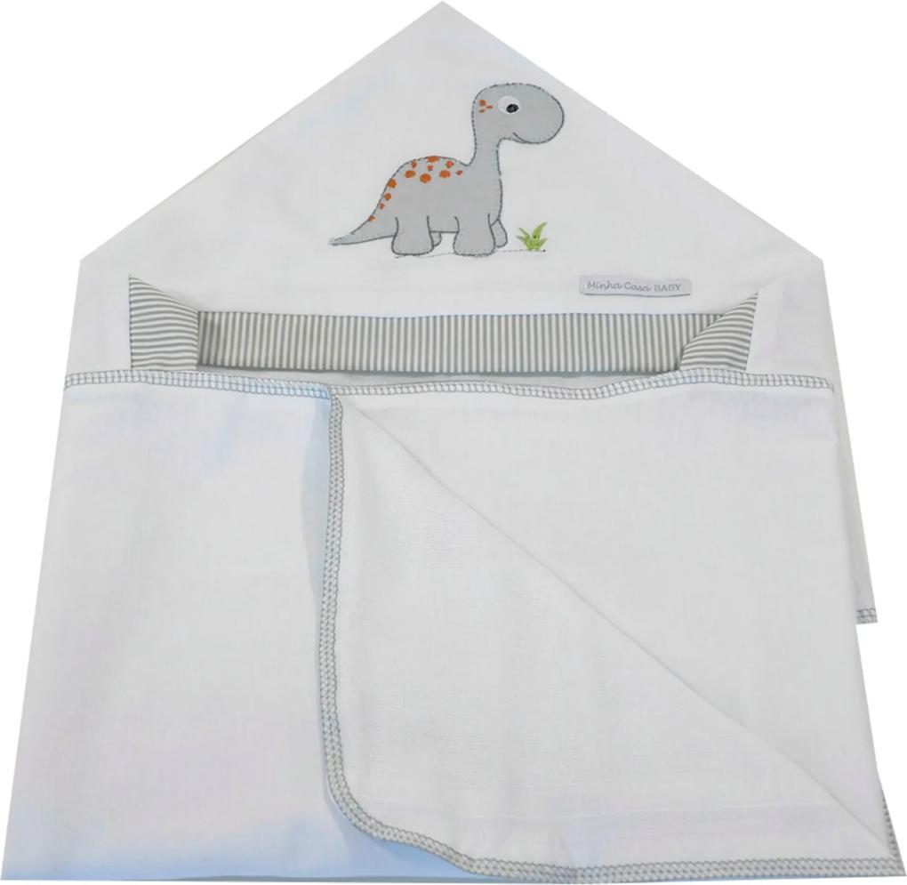 Toalha de Banho em Malha com Capuz Forrada em Fralda Minha Casa Baby TBC5094 Dinossauro,
