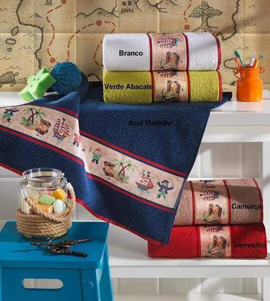 Toalha de Banho Infantil Piratas - 70x130cm - Lufamar