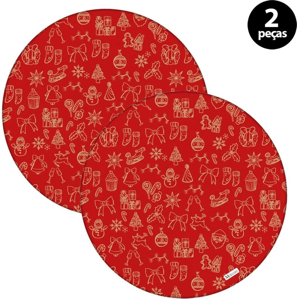 Sousplat Mdecore Natal Boneco de Neve 32x32cm Vermelho 2pçs