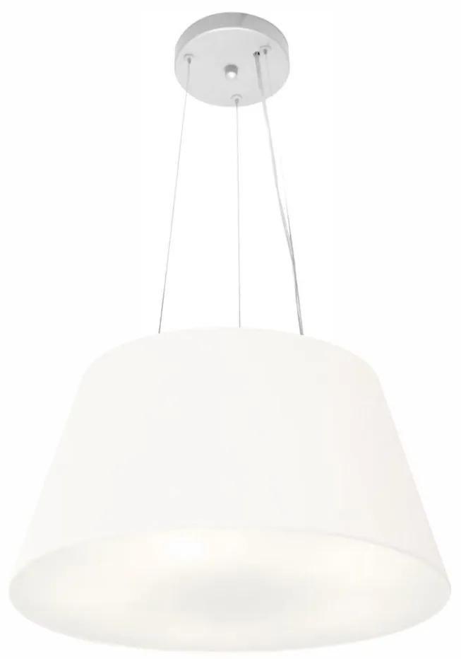 Lustre Pendente Cone Vivare Md-4001 Cúpula em Tecido 21/40x30cm - Bivolt - Branco - 110V/220V (Bivolt)