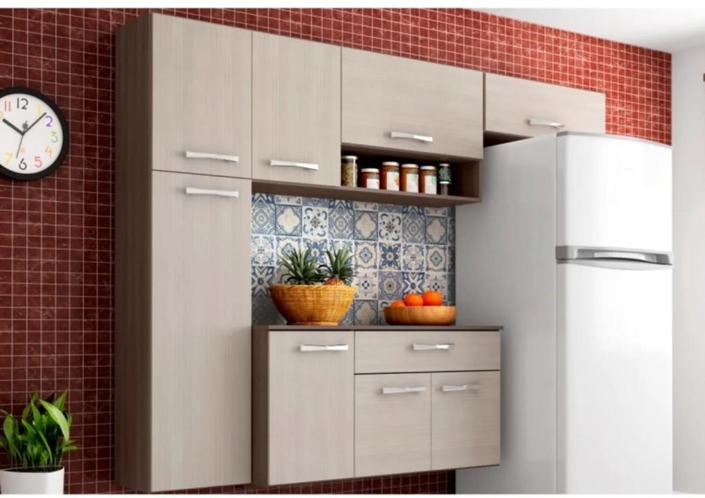 Cozinha Compacta Suspensa com Balcão Anita 08 Portas Capuccino/Amêndoa - Poquema
