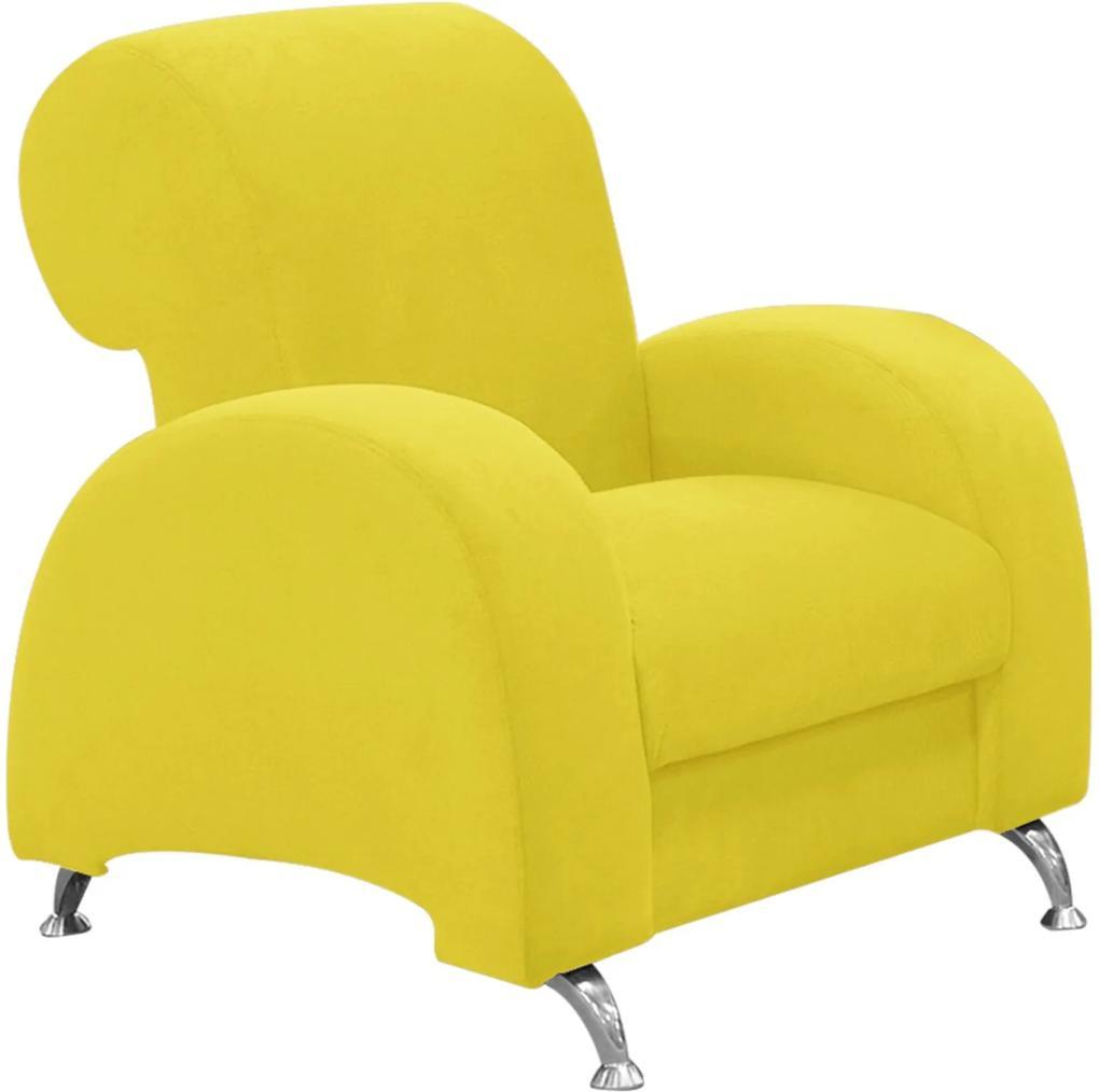 Poltrona D'Rossi Decorativa Hipo Suede Amarelo com Pés em Alumínio - D'Rossi