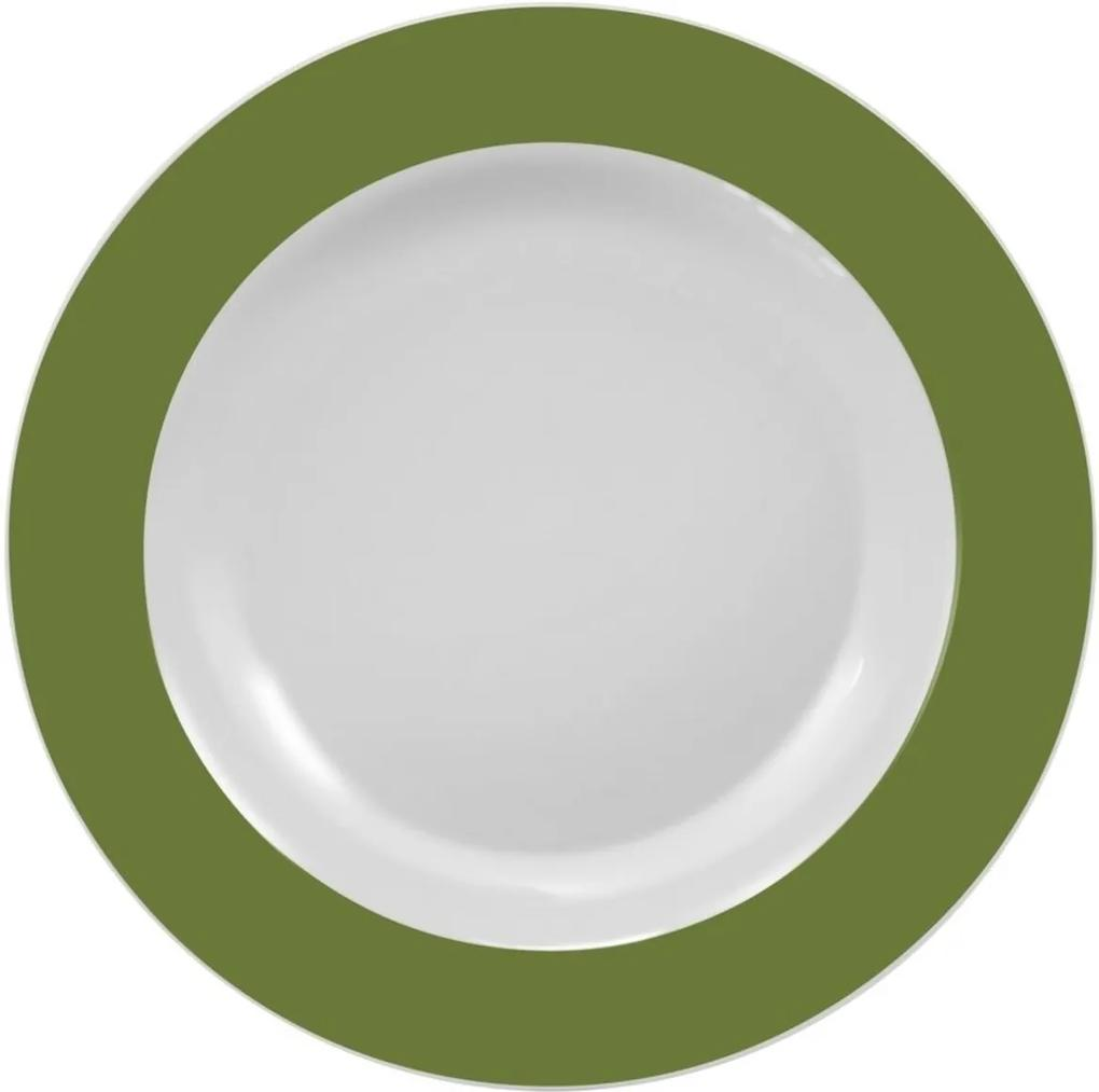 Prato Fundo 23 cm Porcelana Schmidt - Dec. Matte Verde Militar