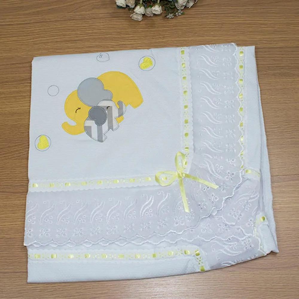 Manta de Bebê Elefante Chevron Amarelo