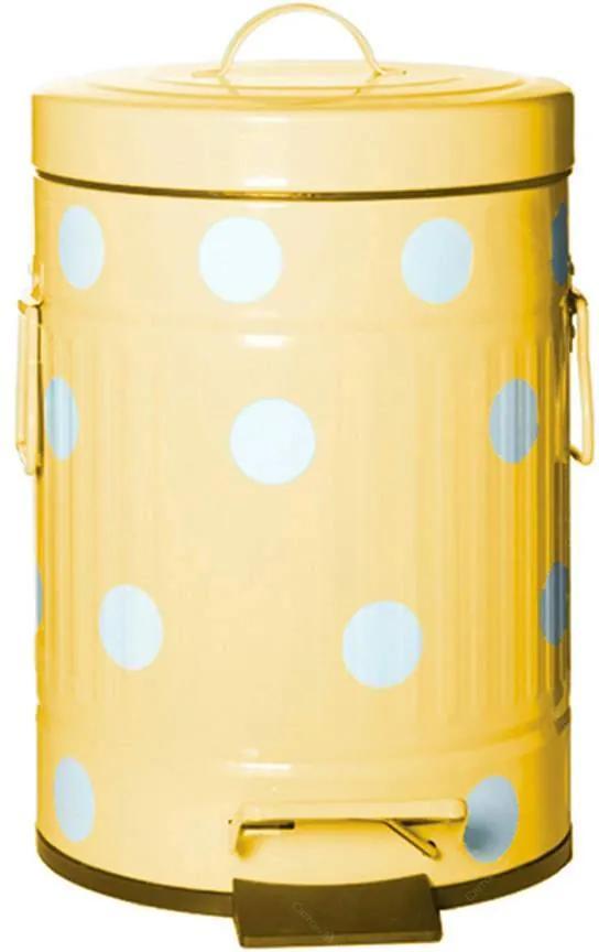 Lixeira Cute Dots Poás Amarela com Pedal em Metal - 12 Litros