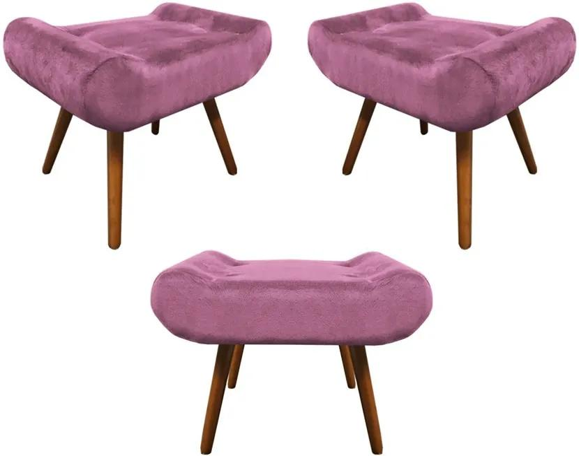 Kit 3 Puffs Decorativos Muu Pés Palito Suede Rosê - Sheep Estofados - Rosa