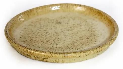 Prato Vietnamita Cerâmica Importada Redondo Areia 21cm