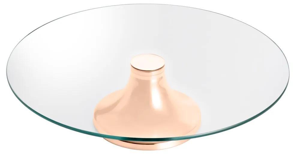 Prato Para Bolo Vidro Mônaco Com Pé Aço Rosé 40x9cm 87052 Wolff