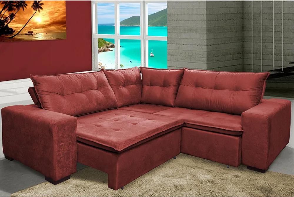 Sofa De Canto Retrátil E Reclinável Com Molas Cama Inbox Oklahoma 2,30m X 2,30m Suede Velusoft Vermelho