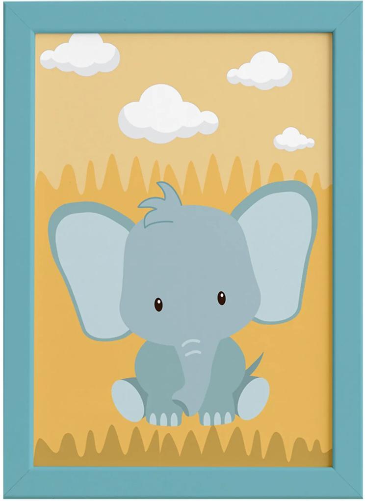 Quadro Infantil Safari Elefante Quarto Moldura Azul 22x32