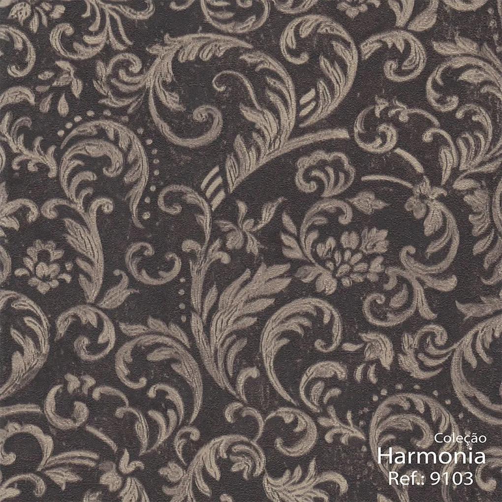 Papel de Parede Arabesco Escuro 52cm x 10m Harmonia