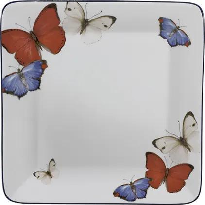 Bandeja Quadrada 20 cm Porcelana Schmidt - Dec. Borboletas do Brasil