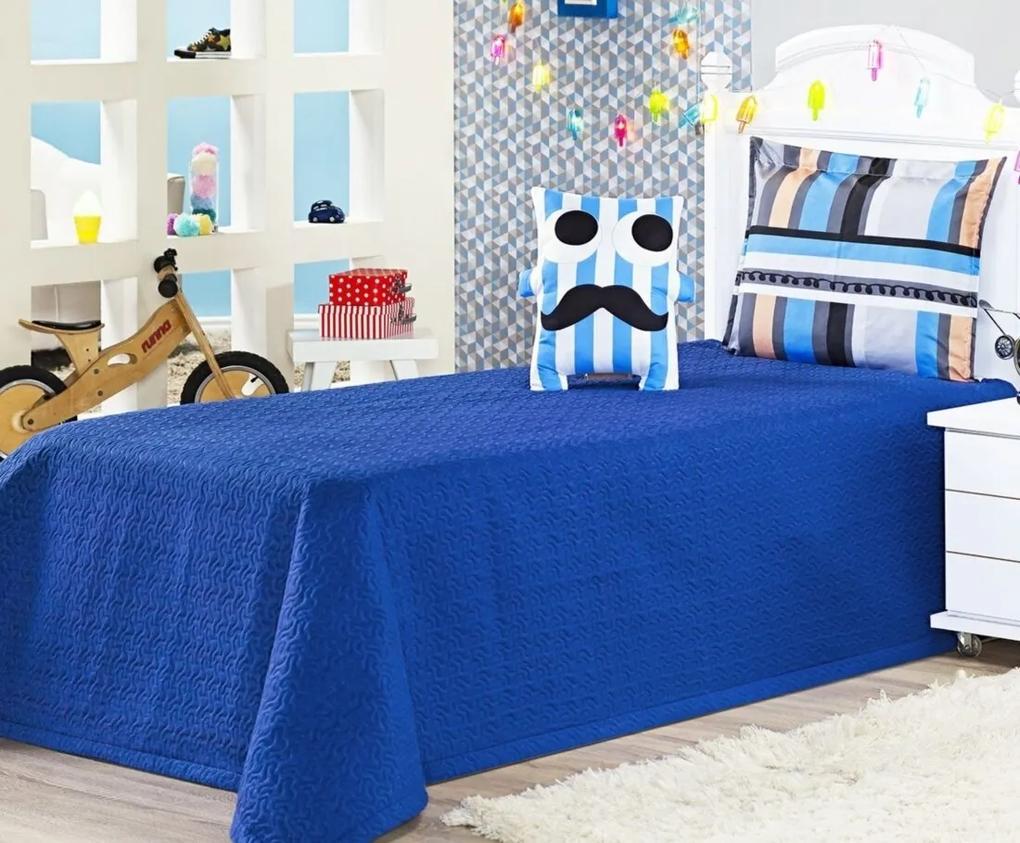 Cobre Leito Life Kids Solteiro Almofada Divertida Bigode cor Azul com 3 peças - Ione Enxovais