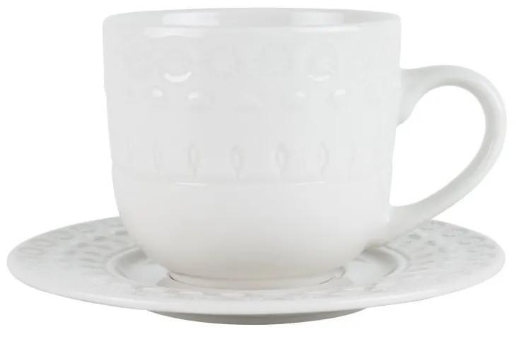 Jogo Xícaras Chá Porcelana Com Pires 4 Peças Grace Branco 250ml 17579 Wolff