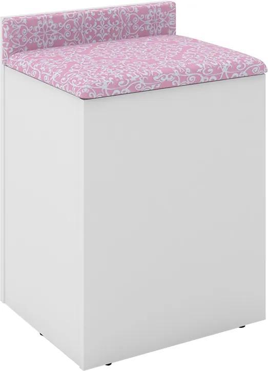 Pufe Muffin Baú C/ Encosto Ternura Rosa Branco