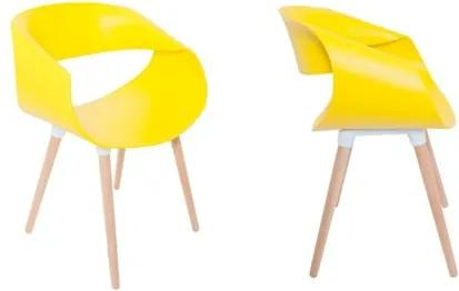 Kit 2 Cadeiras Petra com Pés Palito e Encosto Curvo Amarelo - MP Decor