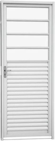 Porta de Abrir com Veneziana e Divisão Horizontal Aço Branco Kompacta Direita 217x87x6,5cm - 24124509 - Sasazaki - Sasazaki